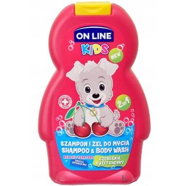 Bērnu dušas želeja un šampūns On Line, saldais ķirsis, 250 ml