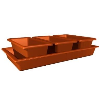 Puķu kastes ar paliktni Minigarden 40, gaiši brūnas