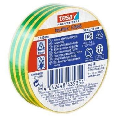 Izolācijas lente Tesa Professional zaļi dzeltena, 10m x 15mm