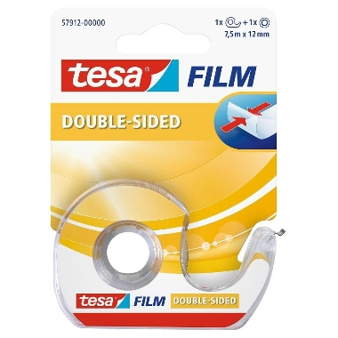 Līmlente Tesa Film divpusēja ar turētāju, caurspīdīga, 7,5m x 12mm