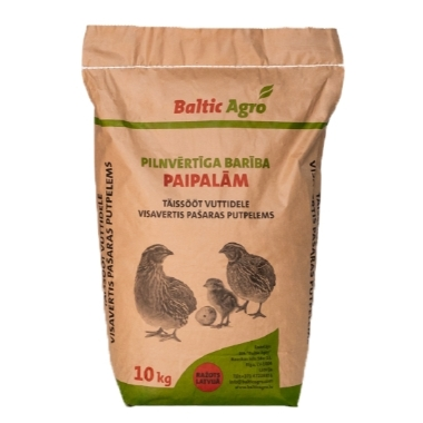 Pilnvērtīga barība paipalām, Baltic Agro, 10 kg