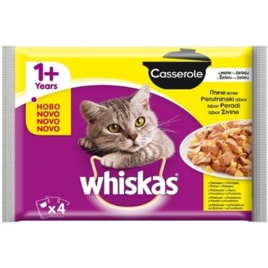 Kaķu barība ar mājputnu gaļu Casserole Whiskas, 4x100 g