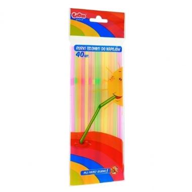 Plastmasas salmiņi krāsaini 21 cm, 40 gab.