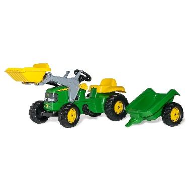 Rotaļu minamais traktors John Deere ar iekrāvēju un piekabi, Rolly Toys