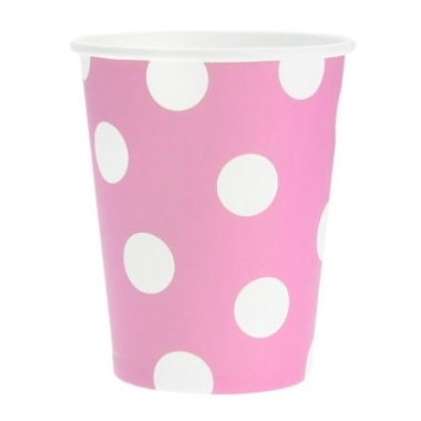 Papīra glāzes rozā ar punktiem Godan, 6 gab.