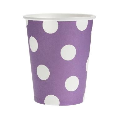 Papīra glāzes violetas ar punktiem Godan, 6 gab.