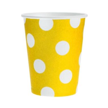 Papīra glāzes dzeltenas ar punktiem Godan, 6 gab.