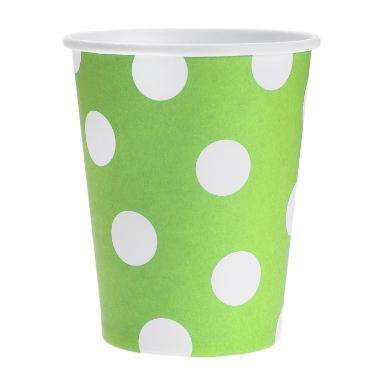 Papīra glāzes zaļas ar punktiem Godan, 6 gab.