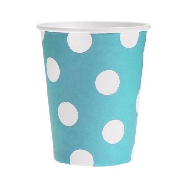Papīra glāzes zilas ar punktiem Godan, 6 gab.