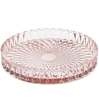 Dekoratīvs šķīvis 4living stikla Ø16cm, rozā