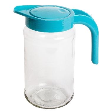 Stikla sulas krūze ar zilu vāku, 1,5 L