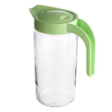 Stikla sulas krūze ar zaļu vāku, 1,5 L