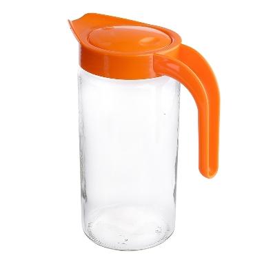 Stikla sulas krūze ar oranžu vāku, 1,5 L