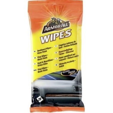 Mitrās salvetes auto paneļa tīrīšanai, ArmorAll, spīdīgas, 20 gab.