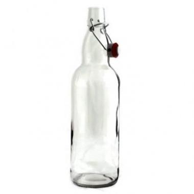 Stikla pudele caurspīdīga ar aiztaisāmu korķi, 1 L