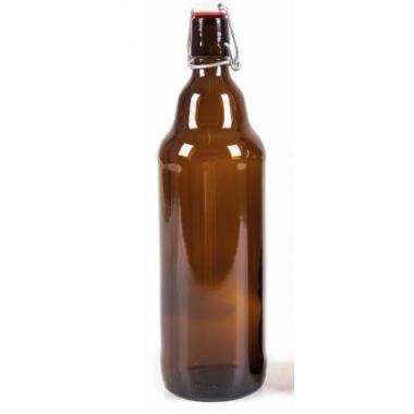 Stikla pudele ar aiztaisāmu korķi, 1 L
