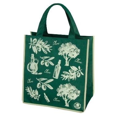 Iepirkuma soma, zaļa ar olīvēm