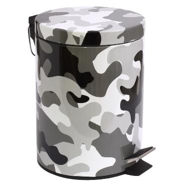 Atkritumu spainis ar pedāli kamuflāžas, 5 L